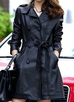 Long Sleeve Lapel Sashes Buttons Pockets Coats Jackets (101986666)