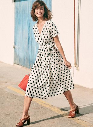 Polka Dot Wrap Short Sleeve Midi X-line Dress