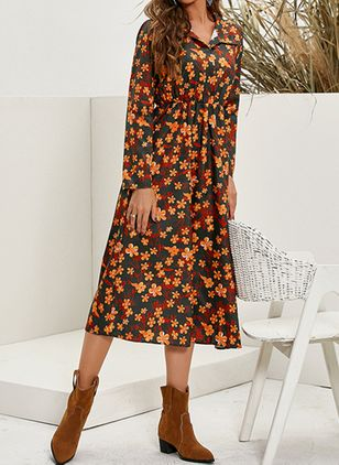 Boho Floral Shirt Collar X-line Dress (128229553)
