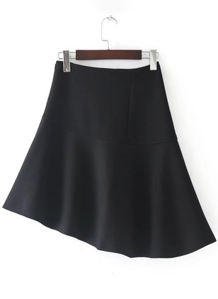 Polyester Solid High Low Casual Skirts