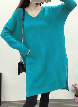 V-Neckline Solid Long None Sweaters