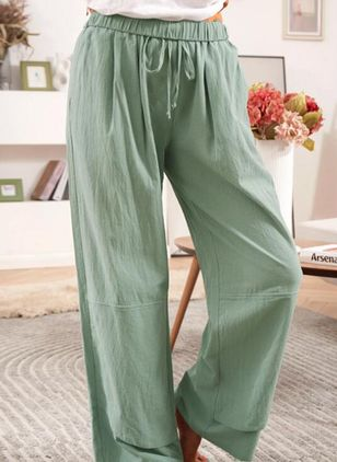 Casual Loose High Waist Polyester Pants (147221245)