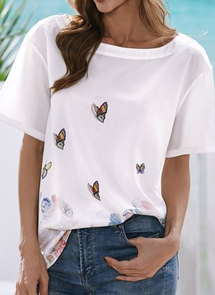Floral Round Neck Short Sleeve Summer T-shirts (146943418)