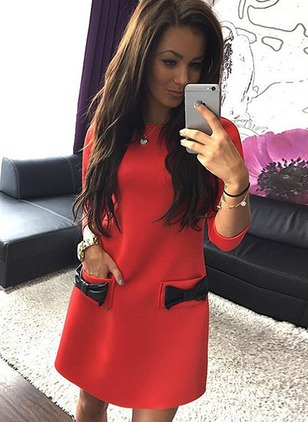 Polyester Color Block Long Sleeve Above Knee Dresses