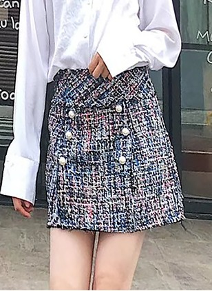 Cotton Tartan Above Knee Casual Buttons Skirts