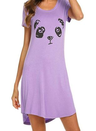 Round Neckline Animal Loungewear (146681625)