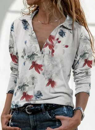 Floral V-Neckline Long Sleeve Casual T-shirts (146762015)