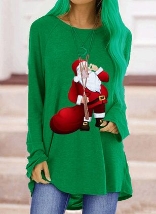 Character Round Neck Long Sleeve Christmas T-shirts (128228482)