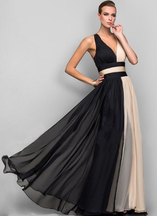 Color Block V-Neckline Sleeveless Maxi A-line Dress