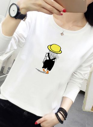 Character Round Neck Long Sleeve Casual T-shirts