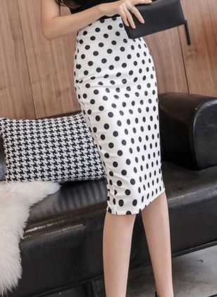 Polka Dot Knee-Length Casual Zipper Skirts (106154094)