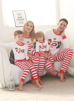 Family Look Stripe Christmas Long Sleeve Family Outfits (128227813)