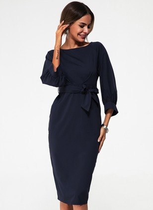 Elegant Solid Round Neckline Midi Sheath Dress (1496929)
