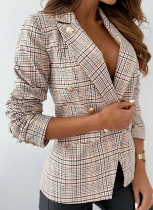 Long Sleeve Lapel Buttons Pockets Blazers (146910697)