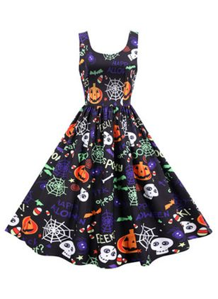 Halloween Color Block Round Neckline Midi X-line Dress (109973581)