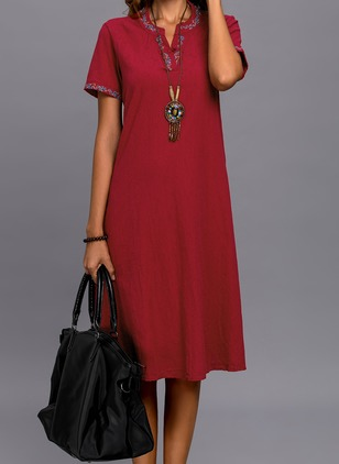 Solid Round Neckline Short Sleeve Midi Shift Dress