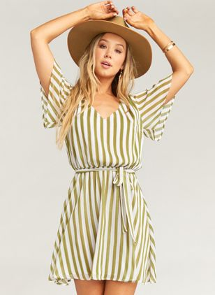 Stripe Short Sleeve Above Knee X-line Dress