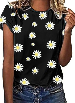 Floral Round Neck Short Sleeve Casual T-shirts (147471999)