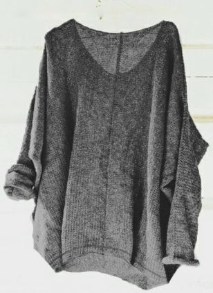 V-Neckline Solid Casual Loose Regular Sweaters (4864483)