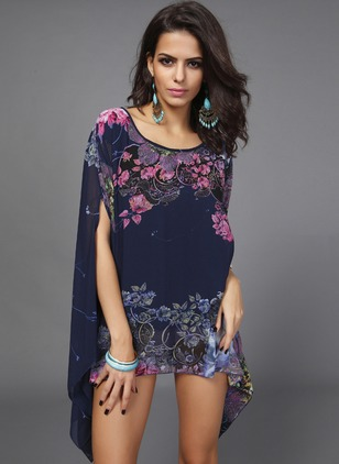 Floral Casual Chiffon Round Neckline Short Sleeve Blouses