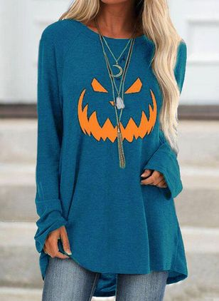 Character Halloween Round Neckline Long Sleeve Blouses (109555978)