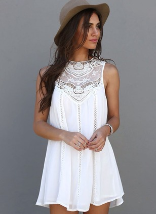 Solid Lace Sleeveless A-line Dress
