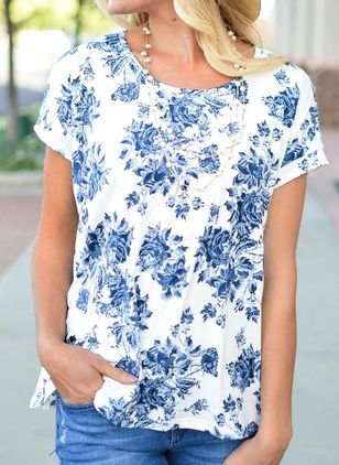 Floral Round Neck Short Sleeve Casual T-shirts (147017698)