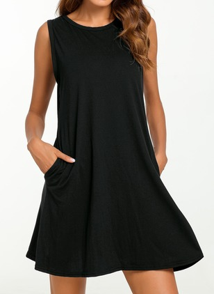 Cotton Solid Sleeveless Above Knee Shift Dress