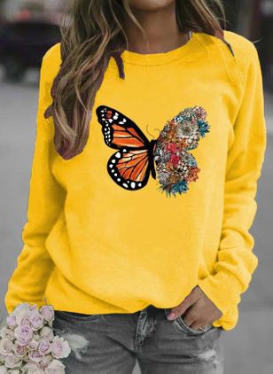 Animal Casual Round Neckline Sweatshirts (146712805)
