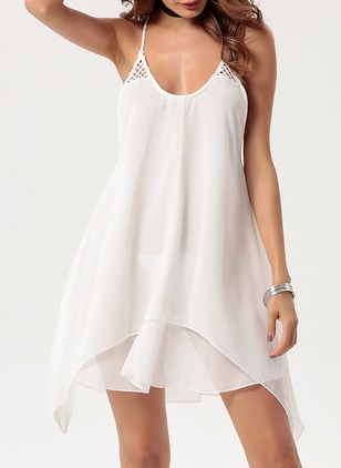 Cotton Solid Sleeveless Mini Sexy Dresses