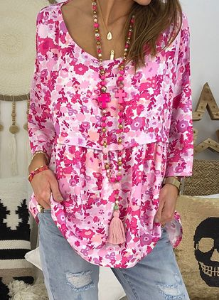 Floral Boat Neckline Casual Shift Blouses 3/4 Sleeves Plus Blouses (4089259)