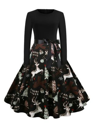 Christmas Animal Round Neckline Midi X-line Dress (146812515)