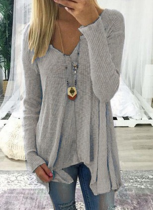 Solid Casual Cotton V-Neckline Long Sleeve Blouses