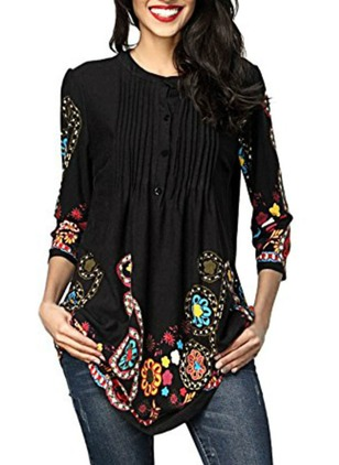 Color Block Casual Cotton Round Neckline 3/4 Sleeves Blouses