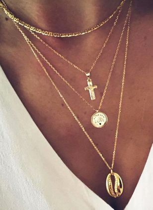 Casual Cross No Stone Pendant Necklaces (107805298)