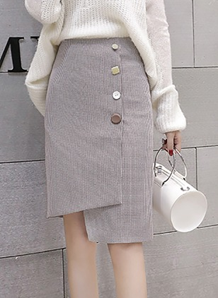 Cotton Check Knee-Length Elegant Buttons Skirts