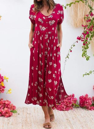 Casual Floral Tunic Round Neckline A-line Dress (4048702)