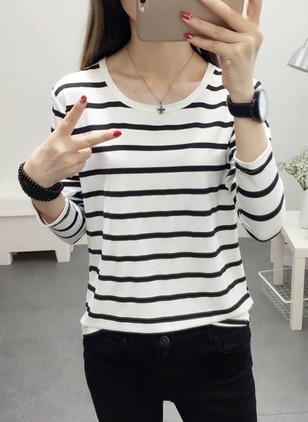 Silk Stripe Round Neck Long Sleeve Casual T-shirts
