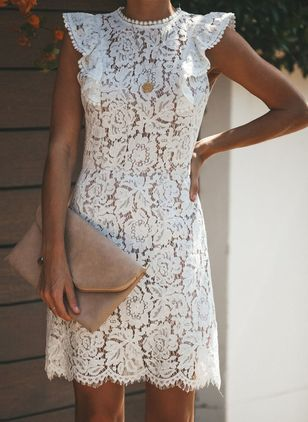 Solid Lace Pencil Above Knee Sheath Dress