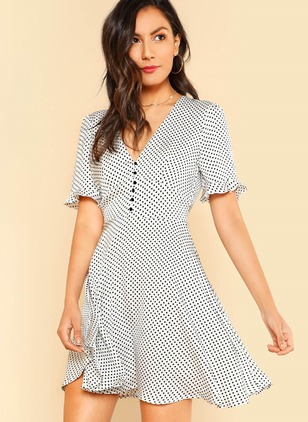 Polka Dot Buttons Skater V-Neckline A-line Dress