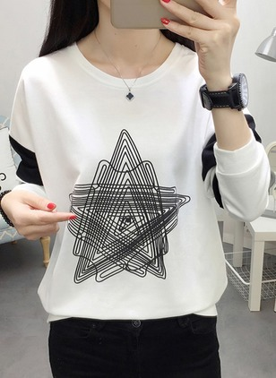 Cotton Geometric Round Neck Long Sleeve Casual T-shirts