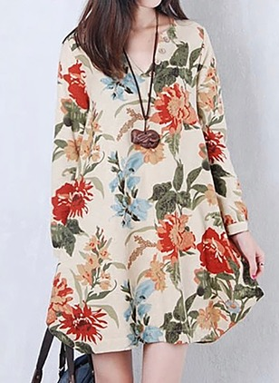 Cotton Floral V-Neckline Long Sleeve Shift Dress
