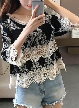 Color Block Casual Round Neckline 3/4 Sleeves Blouses