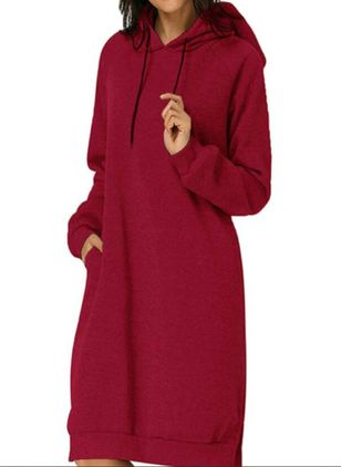 Casual Solid Shirt Round Neckline Shift Dress (106704158)