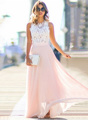 Lace Solid Sleeveless Maxi Dresses
