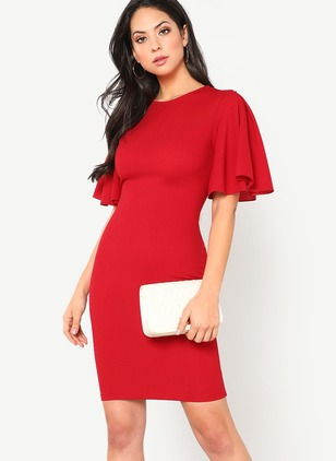 Solid Ruffles Pencil Short Sleeve Bodycon Dress