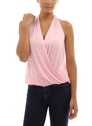 Polyester Solid Halter Neckline Sleeveless Sexy T-shirts & Vests
