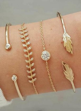 Casual Floral Round Bangle Bracelets (4045809)