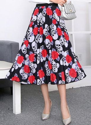Floral Mid-Calf Casual Skirts (4088976)