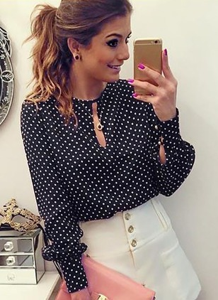 Polka Dot Casual Polyester Round Neckline Long Sleeve Blouses